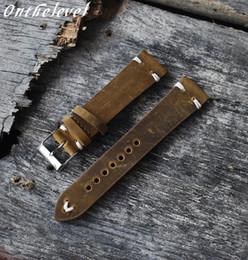 samsung gear smartwatch Desconto Onthelevel Handmade retro couro genuíno Watch Strap Banda 18 milímetros 20 milímetros 22 milímetros Homem de pulso mulheres pulseiras Belt prata polida Buckle