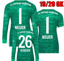 ab5847e99dd 2019 2020 Bayern Long Sleeve Green NEUER Goalkeeper Soccer Jerseys #1  Manuel Neuer #26 Ulreich Goalie GK Kit 19 20 Munich Football Shirts neuer  jersey on ...