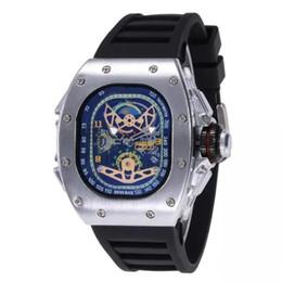relógio de aço crânio Desconto Top Quality Casual Moda Relógios Oco dos homens de Luxo relógios de quartzo Crânio relógio de silicone banda relógio de aço Inoxidável para homens Halloween 88