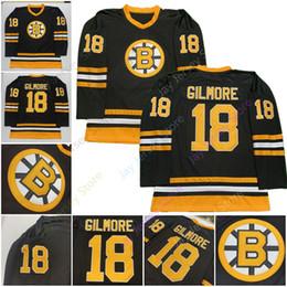 старые хоккейные майки Скидка 2019 Бостон Брюинз 18 Happy Gilmore Хоккейный Джерси черный СКК Old Time Джерси Мужчины Размер S M L XL 2XL 3XL