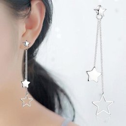 Plated Silver Long Line Ear Chain Paragraph Earrings Festival Gift