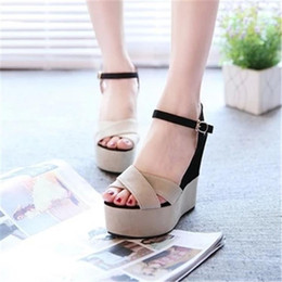 2020 womans mocassins  2019 femmes Couleurs mélangées Sandales plateforme Ladie Patchwork Boucle Peep Toe Wedges Casual Gladiator Mocassins Womans Shoe 37 womans mocassins  pas cher