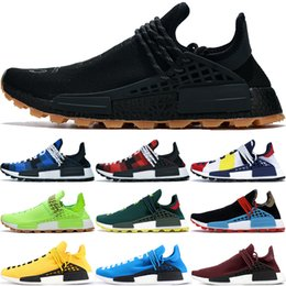 Acheter 2018 Pharell Williams Humain Solaire Hu Glide ST Bottes Multicolore Chaussures De Course Hommes Femmes Humain Solaire Hu Glide Blanc Noir