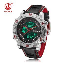 2019 мужские спортивные часы ohsen OHSEN High Quality Sports Waterproof  Watches Men Top  Quartz Digital Man Clock Leather Mens Wrist Watches дешево мужские спортивные часы ohsen