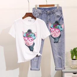 1199f1c22e6a Sequins Cartoon T-shirt Jeans Pants Women Set Spring Summer Short sleeve Print  Tops Denim Pants Suit Fashion 2 Piece Set Female