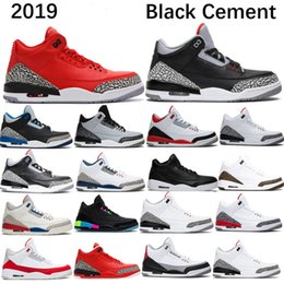 size white gold band Promo Codes - 2019 3 Basketball Shoes Mens 3s Wolf Grey Red Hall of Fame Fire Red Black White Cement Sport Sneaker Katrina True blue Size 7-13
