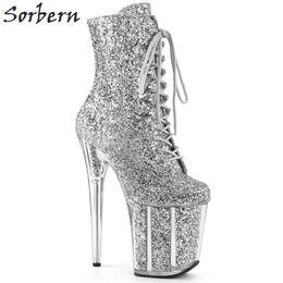 Sexy Glitter Extreme High Heel Ankle Boots Femmes Talons Exotiques Pole Dance Boot Femelles Côté Zipper Chaussure Dame Multi Couleurs ? partir de fabricateur
