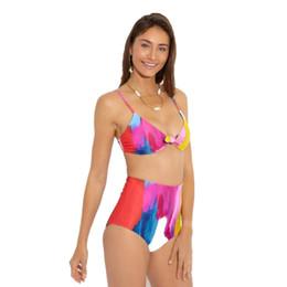Canada 2019 taille haute couleur nombre d'encre fission maillot de bain coloré changement graduel impression bikini Offre