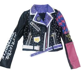 damen lederjacke lila Rabatt Lila Rose Farbe faux Lederjacke Frauen springTurn-down-Kragen Punk Rock Nieten r Jacken Damen Outwear Mäntel