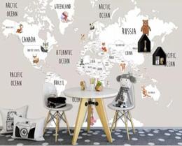 фотография карта мира Скидка Пользовательские Росписи Детская Комната Стены 3d Фото Обои Ручная Роспись животных Карта Мира Картинка Фон 3d обои
