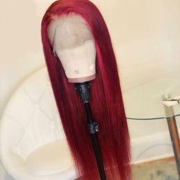prix à moitié perruque Promotion 150% Densité Bourgogne Soyeux Straight Lace Front Perruques de cheveux humains 99J préplumée Rouge Full Lace perruques pour femmes noires