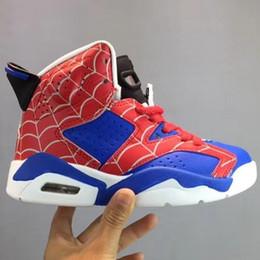 Teenager sneakers online-Mit Box Kids 6 s 6 Hohe Basketballschuhe für Jungen Sportliche Mädchen Spiderman Sneakers Kind Sport Kinder Teenager Retroes Chaussures ADJ