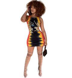 Maglia di stampa tigre online-Fashion Summer women Bodycon Dress Sexy Girocollo senza maniche Tiger Print Mini Abiti 2019 New Casual Party Vest dress