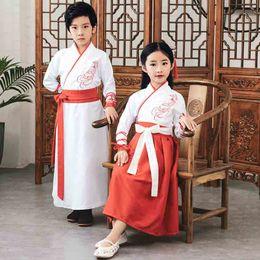 trajes tradicionais chineses Desconto Chinese Tradicional Crianças Trajes de Performance de Palco 110-160 cm Meninos Vestido Meninas Vestido Bordado Hanfu Crianças Homem Tang terno