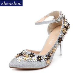 1a2165b2f Shoes Newspring summer 2019 the new point of fine with high heels diamond  wedding shoe female bride slipper single side is empty