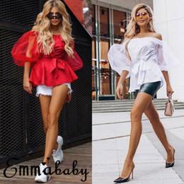 Elegantes blusas de algodón online-Hot Sexy Lace Elegant Women Ladies Summer Cotton Puff Sleeve Casual Camisa Tops Blusa de encaje Camisa Nuevo