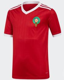 Camisas de futebol vermelhas em branco on-line-2019 áfrica do sul camisa de futebol de Marrocos ZIYECH BOUTAIB BOUSSOUFA EL AHMADI BENATIA em branco personalizado estrada de casa camisa de futebol branco vermelho