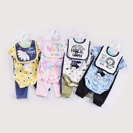 567448bd2cc Newborn Summer Baby Short Sleeve Romper bibs pants socks 4 pieces suits Jumpsuit  Baby Cute Cartoon 100% Cotton 6pcs lot Multi Colors