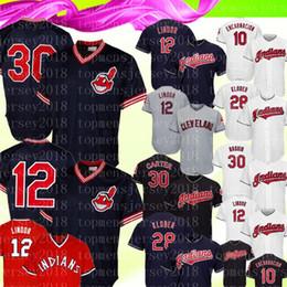 Indiano de beisebol on-line-Cleveland Mens índios 12 Francisco Lindor 30 Joe Carter Jersey Bordado 28 Corey Kluber 10 Edwin Encarnacion Baseball Jerseys2020
