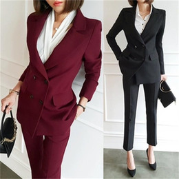 Интервью костюм костюм онлайн-Fashion Pant Suits spring fall Slim professional dress ol suit suit female new casual temperament interview overalls small
