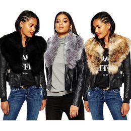 Nuove donne scialle in pelliccia sintetica Giacca da motociclista manica  lunga con cerniera giacche in pelle cappotti corti inverno nero parka  cappotti ... 9670762c8ca