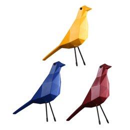 Artificial Vivid Yellow Bird Figurine Geometric Origami Tabletop Ornament/_S