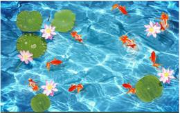 Murales oceaniche online-Personalizzato 3D pavimento autoadesivo foto murale carta da parati Ocean World Bagno 3D Lotus Lotus Lotus Nove Pesce impermeabile Piastrelle per pavimenti