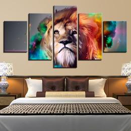 animais cor pintura a óleo Desconto Cor Abstrata Animal Leão, 5 Peças Da Lona Cópias Da Arte Da Parede Pintura A Óleo Decoração de Casa (Sem Moldura / Emoldurado)