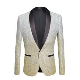 367bacb9 PYJTRL Mens Fashion Gradient Color Shiny Powder Gold Silver Pink Champagne  Blue Black Slim Fit Blazer Stage Singer Suit Jacket