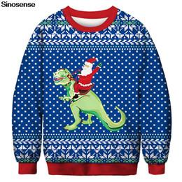 Hombre de puentes de navidad online-Nuevo Otoño Navidad Sudadera Hombres Mujeres Streetwear Pullover Jumper Todo Impreso 3D Papá Noel Sudaderas Con Capucha de Dinosaurio Tops Sueltos