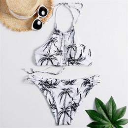 Maillot de bain cocotier en Ligne-2019 Mode Arbre De Noix De Coco Impression Bikini Sexy Femme Deux Pièce Maillot De Bain Femme Taille Basse Maillots De Bain Maillots De Bain Maillot De Bain