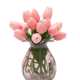 Tulpen sträuße online-echte Berührung Tulpen Künstliche Hochzeit Braut Blumen bunte einzelne Niederlassung Masse Brautjungfer Hochzeitsstrauß billig Home Decoration Blumen