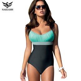 b1faeb689a 2019 NAKIAEOI One Piece Swimsuit Plus Size Swimwear Women Swimsuit new  fashion Summer Large Beach Vintage Retro Bathing Suits Swim Wear XXL