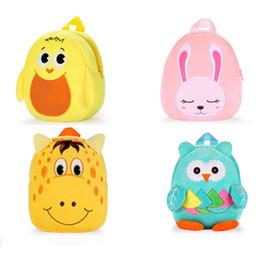 Escola mochila mochila coruja on-line-Multi-função Crianças Dos Desenhos Animados Mochilas 17 Design Toy Plush Patinho Joaninha Dinossauro Saco de Escola Do Bebê Coruja Mochila Crianças Mochila