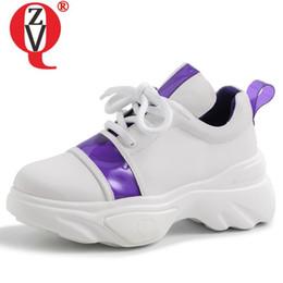 Morado pisos para chicas online-ZVQ zapatos de plataforma plana de cuero de vaca genuino de mujer botines primavera punta redonda niña morado blanco negro zapatillas