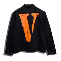 Casacos de denim laranja on-line-Vlone Jacket alta Laranja Qualidade Vlone Denim 555555 Mens Designer Jackets magro Magro Fragmento Fahsion Denim Jacket Casacos de inverno S-XL