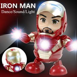 2019 regalo di ferro di ferro Danza Iron Man Action Figure Toy Tony LED Flashlight Music The Avengers 4 Iromen Hero Swing Marvel Electronic Toy Gift sconti regalo di ferro di ferro