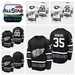 jeux étoile rouge Promotion 2019 All Star Game Detroit Red Wings - Jimmy Howard - Chandails cousus Hommes Noir - Blanc Personnaliser le chandail de hockey Jimmy Howard # 35