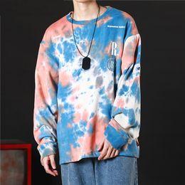 hoodie de rock Desconto Casual Loose Tie Dye Pullover Hoodies Moletons Mens Hip Hop Hipster Punk Rock Streetwear Moletom Com Capuz Moda Jumper Tops