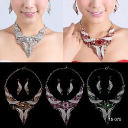Deutschland Braut Halskette Elegant Versilbert Strass Ohrringe Schmuck-Set Günstige Accessoires für Abschlussballkleider Abendkleid supplier evening necklace earrings Versorgung