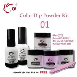 Kit de gel en polvo online-Inmersión de uñas Uñas Set Kit de manicura francesa 2 + 4 Polvos Base Top Gel Activador Dip uñas naturales seco