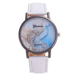 Inserções de relógio de quartzo on-line-Moda Feminina Relógios de Marca de Quartzo Relógio Relógio Inserir Strass Mostrador do Mapa Dial Pulseiras de Couro Wirsrtwatch reloj mujer # 70
