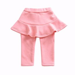 neonato del velluto Sconti Neonata Bambina Pantskirt Bambini Ragazza Leggings in velluto Pantaloni per bambini Solid Elastic Waist Baby Girl Clothes 6
