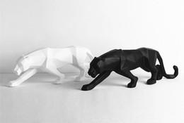Canada [TOP] Moderne Abstrait Noir Panthère Sculpture Géométrique Résine Leopard Statue Faune Décor Cadeau Artisanat Ornement TV meuble Offre