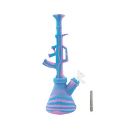 Maquina de silicona online-10.6 '' forma de ametralladora ak47 pipas de agua portátil de silicona agua bong irrompible shisha hookah pipa de fumar con 14mm conjunta
