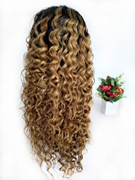 Volle spitze 27 online-Ombre Perücken Raw Indian Curly Honey Blonde Glueless Volle Spitzeperücke Farbige 1B 27 Deep Wave Geflochtene Lace Front Perücken Für Schwarze Frauen