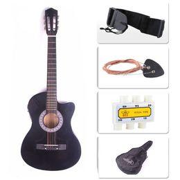 fretless gitarren Rabatt Elektrische Akustikgitarre Cutaway Design mit Gitarrenkoffer, Gurt Schwarz Neu