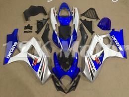 Argentina 4 regalos molde de la compresión de la motocicleta del nuevo ABS Carenados Set para Suzuki GSXR-1000 K7 2007 2008 07 08 Cubierta de carrocería Custom Kit Azul Blanco Suministro
