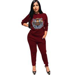 jogging femme Tuta da donna Set Strass Tiger Animal Print Felpa Lounge Sweat Suits Set da due pezzi Tuta da corsa da