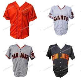 Traje preto laranja on-line-Mens San Jose Giants Laranja Branco Cinza Preto Costume Duplo Costurado Camisas Camisolas De Beisebol de Alta Qualidade